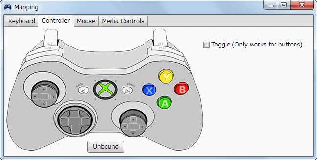 InputMapper 1.6.9 マクロ設定 マクロを起動するために入力したボタンをコントローラー側に反応させない方法、Mapping 画面が開いたら、Controller タブで Unbound ボタンをクリック
