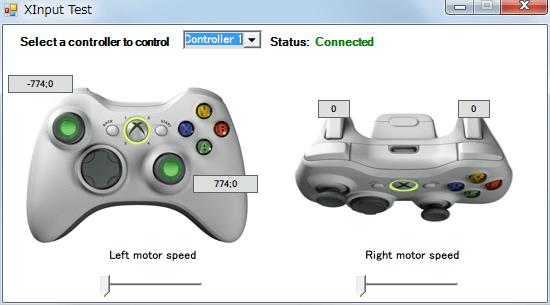 InputMapper 1.6.9 マクロ設定 マクロを起動するために入力したボタンをコントローラー側に反応させない方法、タッチパッド左クリックを押しながら △ ボタンを押した時の Xinput Test 画面、マクロで設定したタッチパッド左クリックを押している状態ではボタン入力の反応なし、先ほどマクロ登録したキーボードの A だけが入力される状態となる