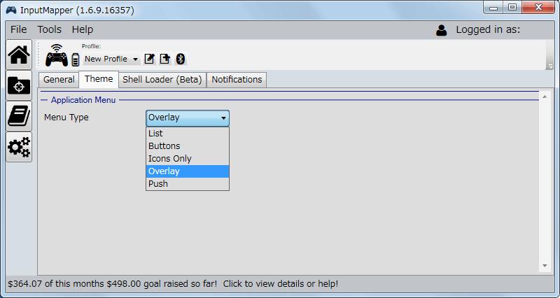 InputMapper 1.6.9 Settings 画面 Theme タブ、InputMapper のメニューアイコンの表示方法の変更、デフォルトは Overlay