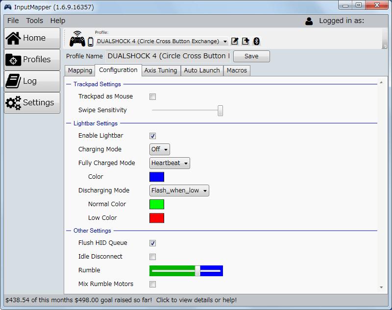 InputMapper 1.6.9 Configuration タブにある Trackpad Settings - Trackpad as Mouse オフ、タッチパッドにマクロを割り当てるためマウス機能をオフ