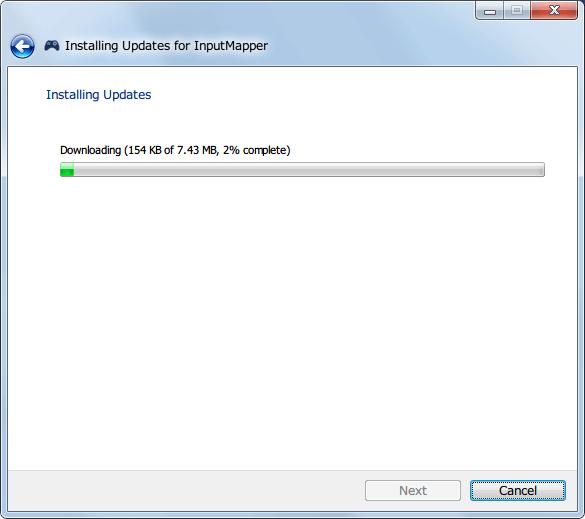 InputMapper 1.6.9 から 1.6.10 へアップデート、ファイルのダウンロード中
