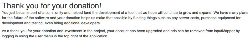 InputMapper 広告をオフにするため寄付(Donate)する方法、InputMapper で寄付完了メッセージ画面、InputMapper を起動してツール内からログインすることで広告をオフにできる