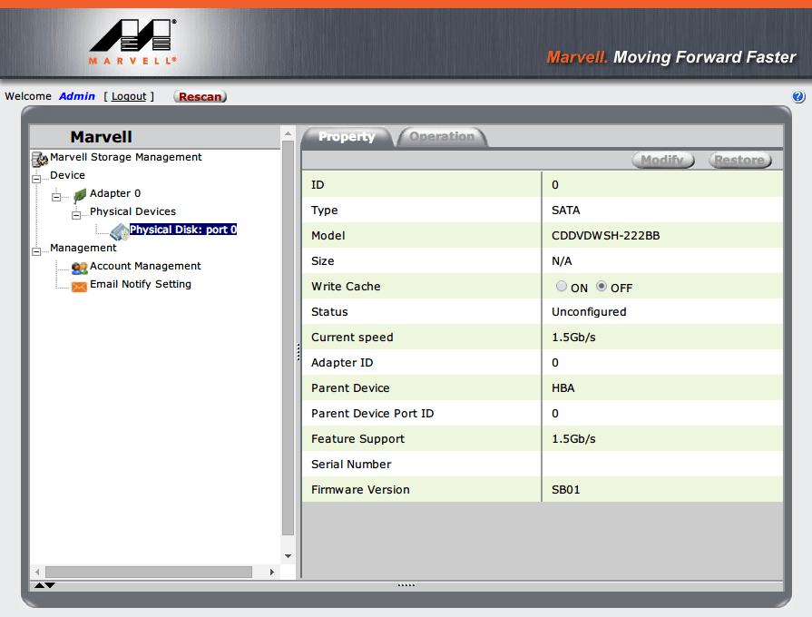 P8Z68-V PRO/GEN3 Marvell コントローラー(Marvell 88SE9172) に接続してる DVD ドライブ情報