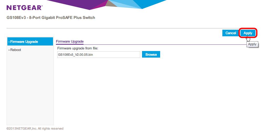 NETGEAR ネットギア アンマネージプラススイッチ ギガ 8ポート スイッチングハブ 管理機能付 無償永久保証 GS108E-300JPS Firmware Upgrade 画面、Browse ボタンをクリック、GS108Ev3_V2.00.05.bin ファイルを選択後、Apply ボタンをクリック