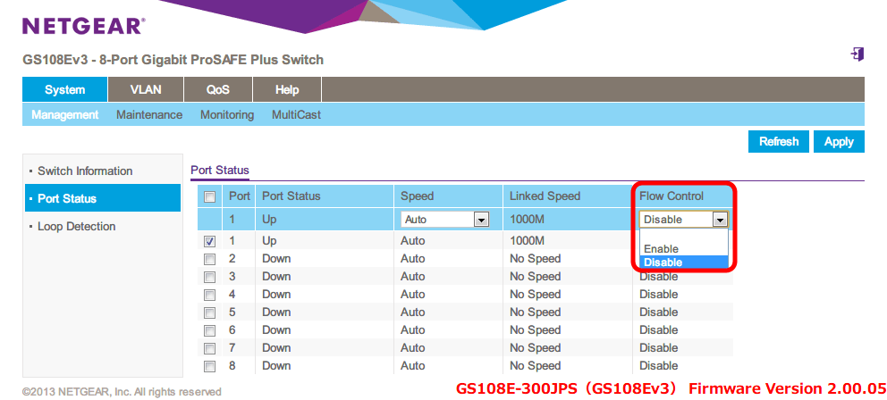 NETGEAR ネットギア アンマネージプラススイッチ ギガ 8ポート スイッチングハブ 管理機能付 無償永久保証 GS108E-300JPS Web 管理画面 System - Management - Port Status - Flow Control(初期設定 Disable) をクリックするとメニューが表示されるので、その中から Enable, Disable が選択可能