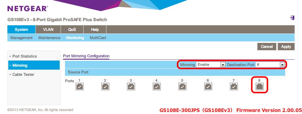 NETGEAR ネットギア アンマネージプラススイッチ ギガ 8ポート スイッチングハブ 管理機能付 無償永久保証 GS108E-300JPS Web 管理画面 System - Monitoring - Port Mirroring Configuration、設定例 Mirroring → Enable、Destination Port → 8、Ports 1~7 までチェックマークすることで、ポート 1~7 までをミラーリング対象ポート(複製元)を指定、ポート 8 ミラーリング先ポート(複製先)になる。ミラーリングの複製元と複製先のポート番号が重なる場合はエラーとなり設定できない