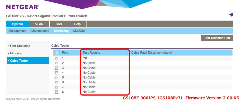 NETGEAR ネットギア アンマネージプラススイッチ ギガ 8ポート スイッチングハブ 管理機能付 無償永久保証 GS108E-300JPS Web 管理画面 System - Monitoring - Cable Tester - Test Results 項目にケーブルテスト結果が表示される