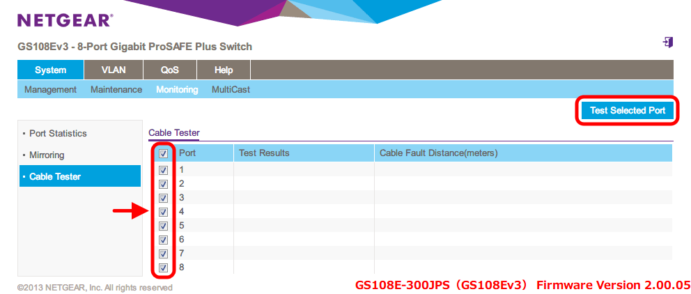 NETGEAR ネットギア アンマネージプラススイッチ ギガ 8ポート スイッチングハブ 管理機能付 無償永久保証 GS108E-300JPS Web 管理画面 System - Monitoring - Cable Tester ケーブルテストしたいポート番号を選択、一番上のチェックボックスをクリックすると全ポートが選択、Test Selected Port ボタンをクリックするとテスト開始