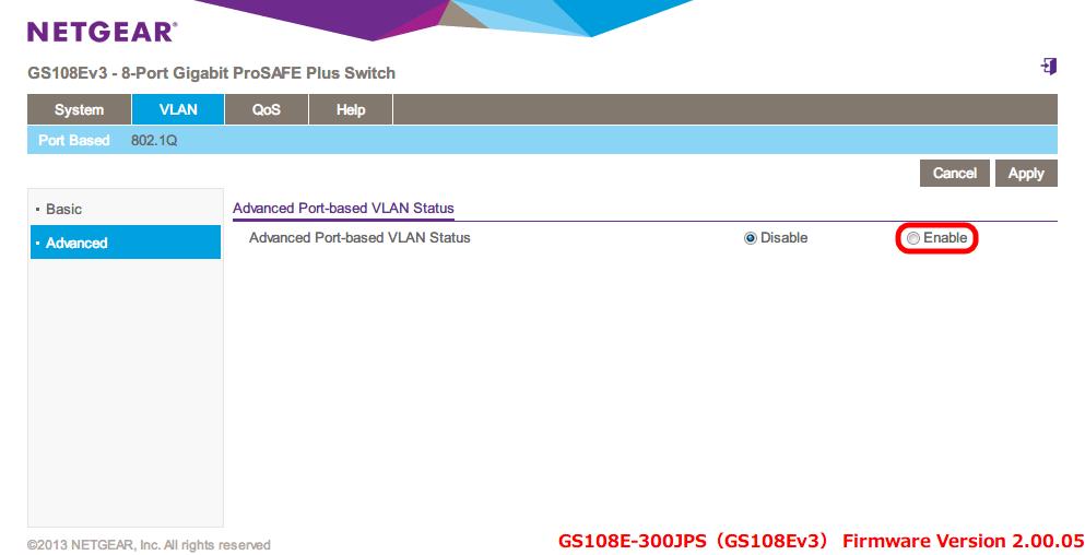 NETGEAR ネットギア アンマネージプラススイッチ ギガ 8ポート スイッチングハブ 管理機能付 無償永久保証 GS108E-300JPS Web 管理画面 VLAN - Port Based - Advanced Port-based VLAN Status - Enable を選択