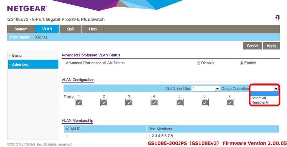 NETGEAR ネットギア アンマネージプラススイッチ ギガ 8ポート スイッチングハブ 管理機能付 無償永久保証 GS108E-300JPS Web 管理画面 VLAN - Port Based - Advanced Port-based VLAN Status → Enable - VLAN Configuration - Group Operation で Select All, Remove All ができるので Ports の一括選択、解除が可能