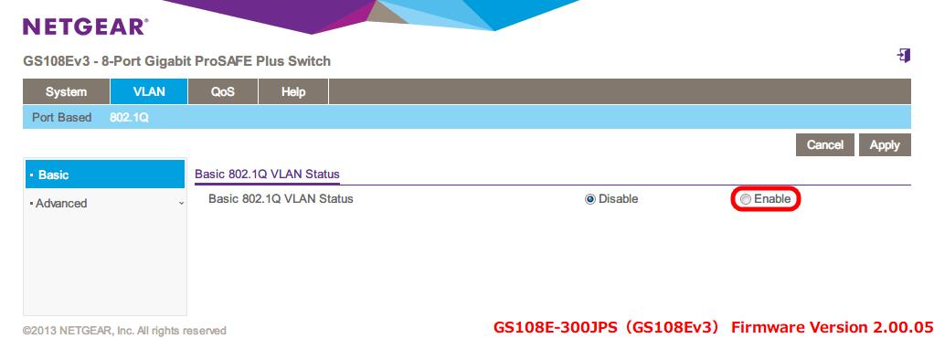 NETGEAR ネットギア アンマネージプラススイッチ ギガ 8ポート スイッチングハブ 管理機能付 無償永久保証 GS108E-300JPS Web 管理画面 VLAN - 802.1Q - Basic 802.1Q VLAN Status - Enable を選択
