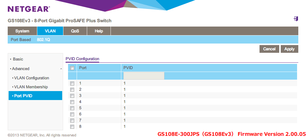 NETGEAR ネットギア アンマネージプラススイッチ ギガ 8ポート スイッチングハブ 管理機能付 無償永久保証 GS108E-300JPS Web 管理画面 VLAN - 802.1Q - Advanced - Port PVID - PVID Configuration 画面