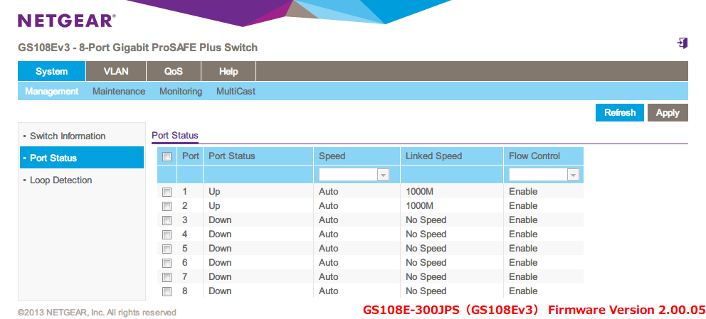 NETGEAR ネットギア アンマネージプラススイッチ ギガ 8ポート スイッチングハブ 管理機能付 無償永久保証 GS108E-300JPS Web 管理画面 System - Management - Port Status - Flow Control(初期設定 Disable) すべてのポートを Enable に変更