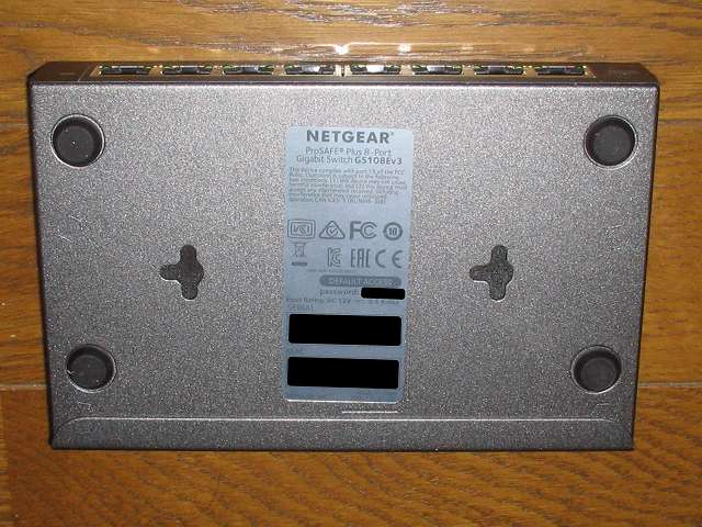 NETGEAR ネットギア アンマネージプラススイッチ ギガ 8ポート スイッチングハブ 管理機能付 無償永久保証 GS108E-300JPS 本体裏面 WEB ログイン パスワード、シリアル番号、MAC アドレス