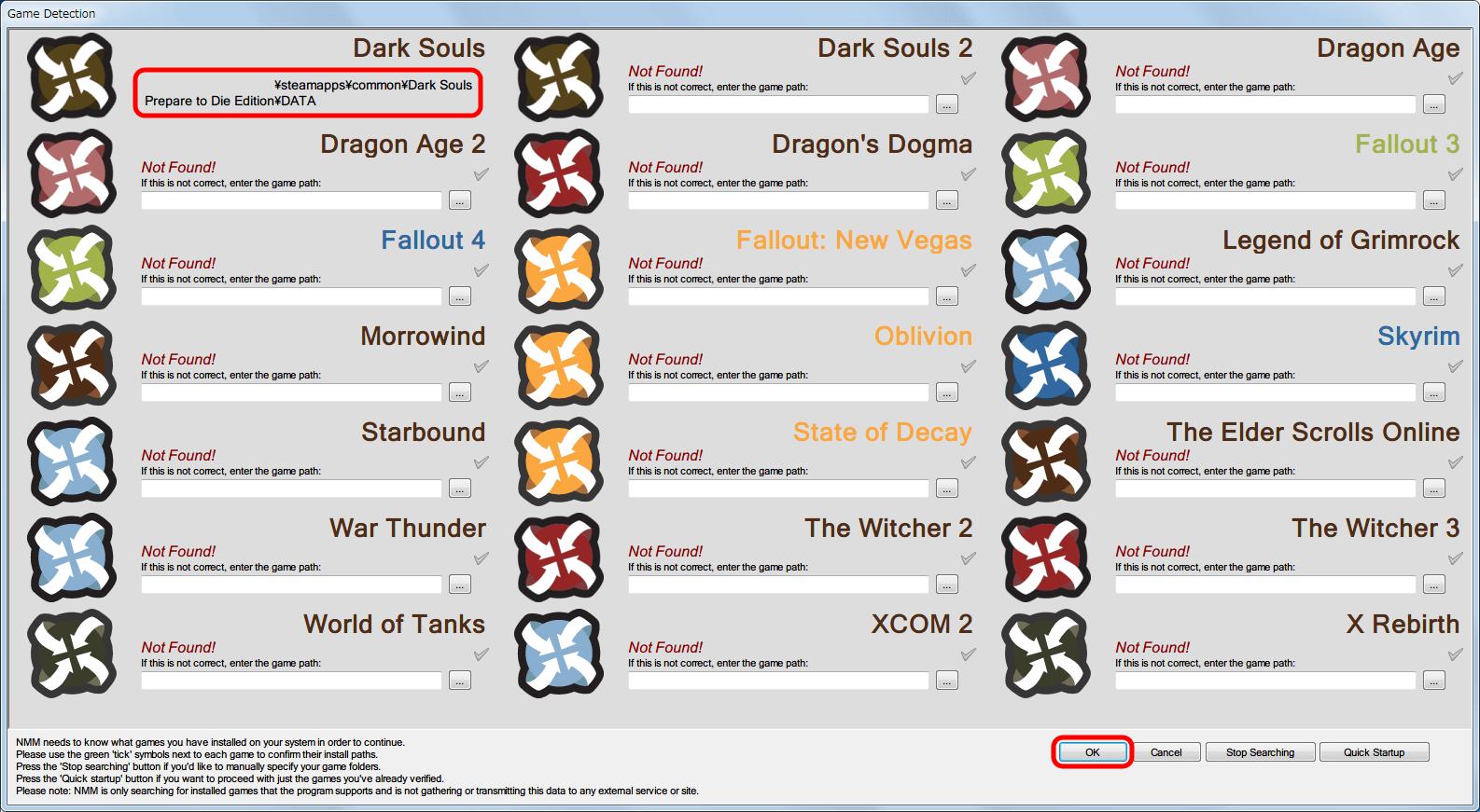 Dark Souls がインストールされているフォルダパス名を入力または選択後に表示される緑のチェックマークをクリックすると、NMM に Dark Souls のインストールパス名を設定。OK ボタンをクリック。パス名は Steam 版のものだが GfWL 版でも可能