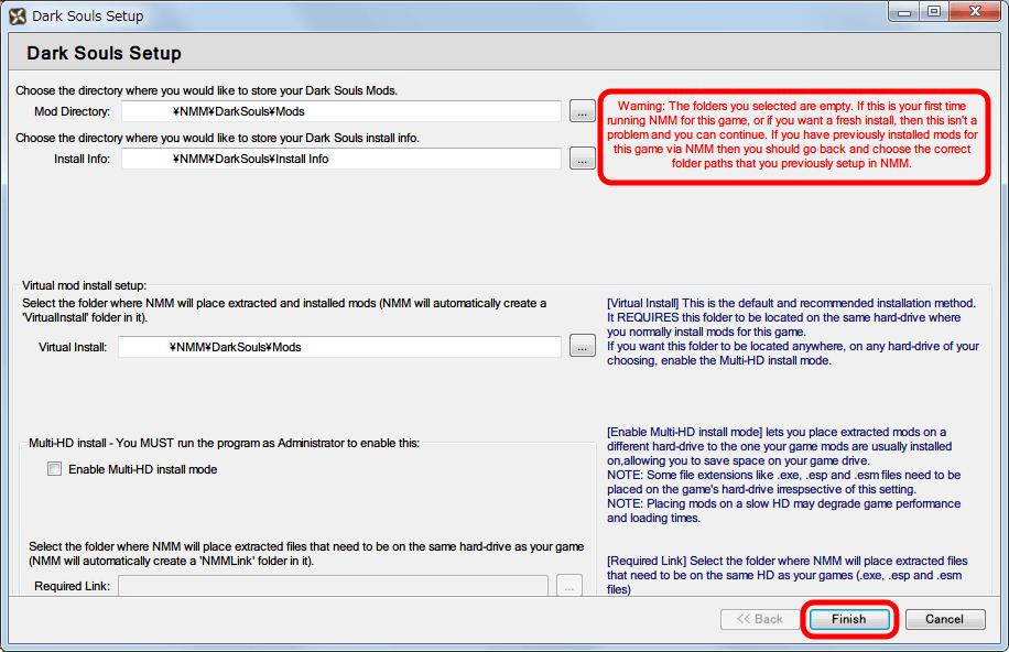 Nexus Mod Manager(NMM) ダウンロードした Mod ファイルの保存フォルダ設定画面、設定したパス名にフォルダがないため表示される警告メッセージ、問題ないのでそのまま Finish ボタンをクリック