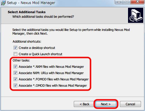 Nexus Mod Manager(NMM) 0.61.23 インストール、Select Additional Tasks 画面、Nexus Mod Manager で使うファイルの関連付けを適宜設定、Next ボタンをクリック