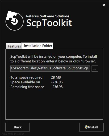 ScpToolkit Installation Folder タブをクリックしてインストール先フォルダの確認、すべてのツールをインストールする場合は 28 MB の容量となる、Install ボタンをクリック