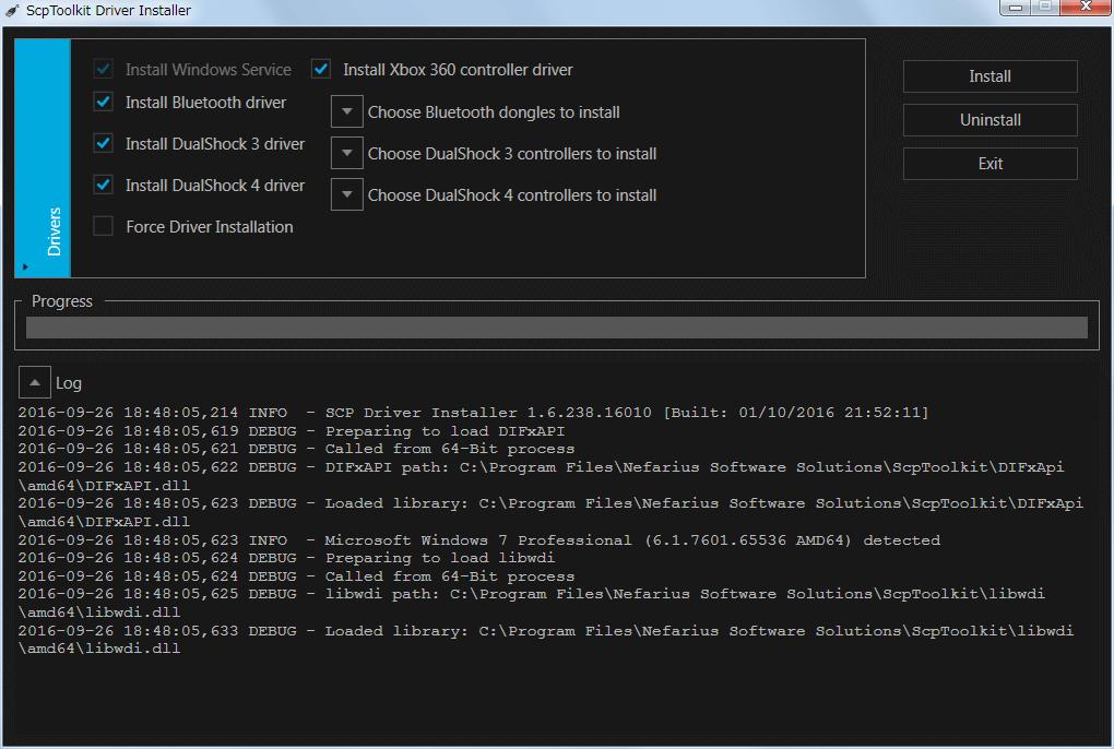 ScpToolkit Driver Installer 画面、この画面で使っているコントローラーと Bluetooth デバイスを選択して専用のドライバをインストール、またはアンインストールをする