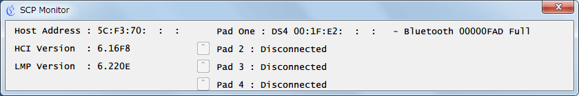 ScpToolkit インストール時に作成されたショートカットから ScpToolkit Monitor (legacy) 画面、デュアルショック 4 を Bluetooth 接続に切り替え時に ScpToolkit Monitor (legacy) 画面で Bluetooth 接続している状態を確認