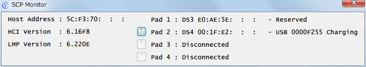 新型 PS4 コントローラー ワイヤレスコントローラー DUALSHOCK 4 CUH-ZCT2J が PC に USB ケーブルで接続している状態で SCP Monitor を起動、Pad 2 に DS4 が USB で認識していることを確認(デュアルショック3 が接続したままの状態だったので Pad 1 には DS3 が認識している状態)