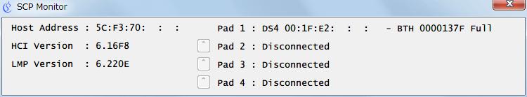 新型 PS4 コントローラー ワイヤレスコントローラー DUALSHOCK 4 CUH-ZCT2J を Bluetooth で接続した状態での SCP Monitor