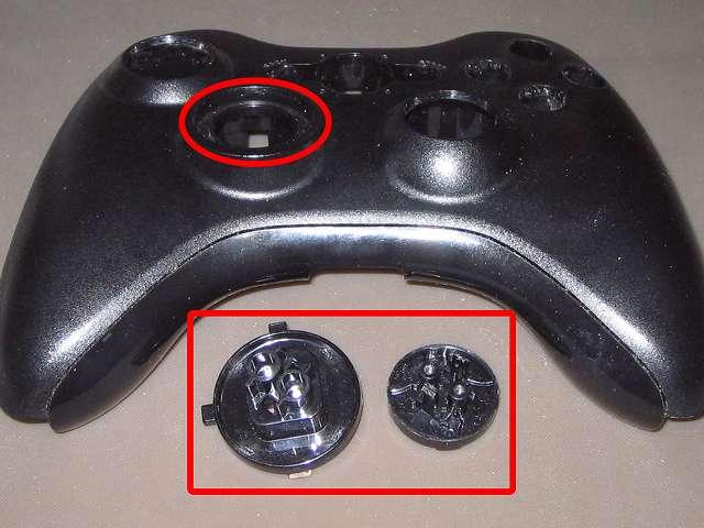 Xbox 360 コントローラー(ブラック) スプレーを使ってメンテナンス、十字キー内側とプラスチックカバーの十字キー取り付け穴にドライファストルブを噴射