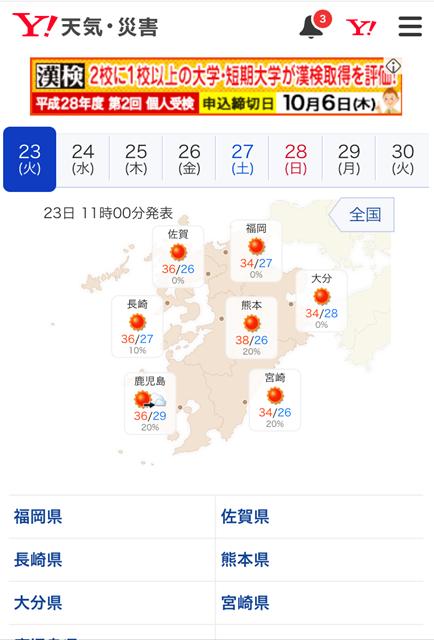九州の気温