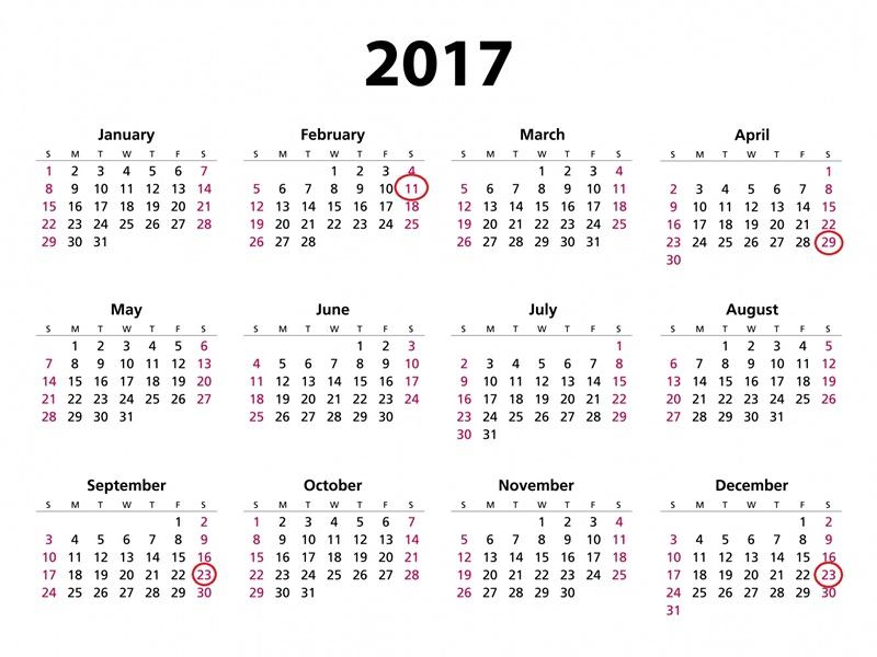 2017カレンダー祝日