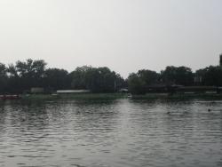 前海南沿から 右は会賢堂