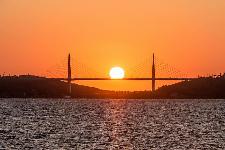 2016.06.02内灘大橋に沈む夕日1.1859