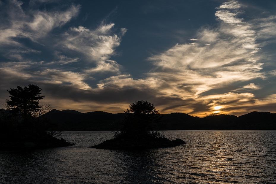 2016.10.21檜原湖の夕焼け1