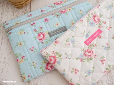 YUWA花柄ふわぺたポーチ 2色