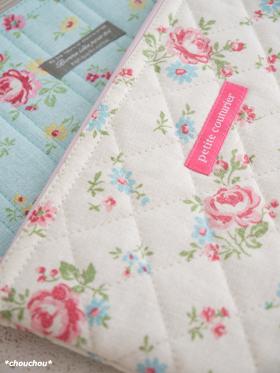 YUWA花柄ふわぺたポーチ 2色3