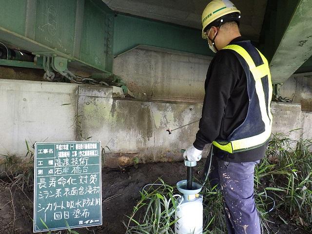 今之浦河橋改修工事 9  シッカリート吸水防止用塗布