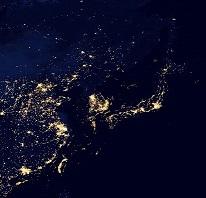 夜の地球・日本とその周辺