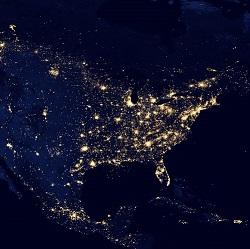 夜の地球・北米