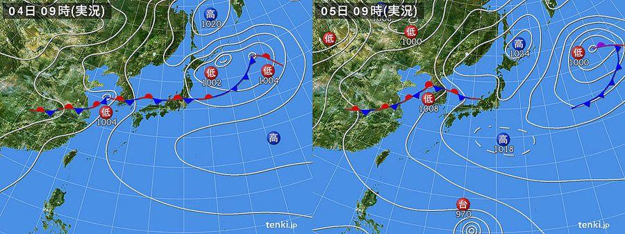 7月4日、5日天気図