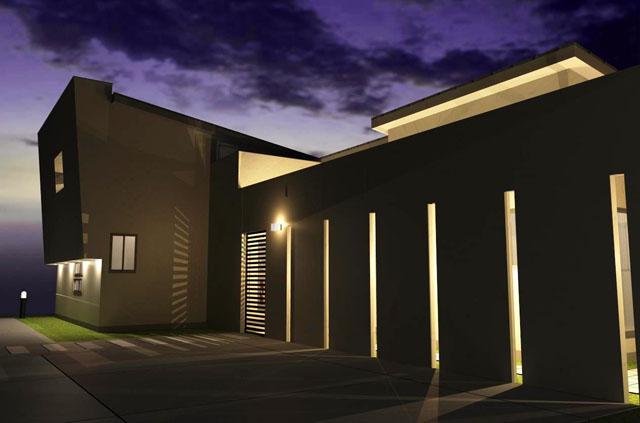 注文住宅,愛知県,スリットからあふれ出す光と影で幻想的な空間を