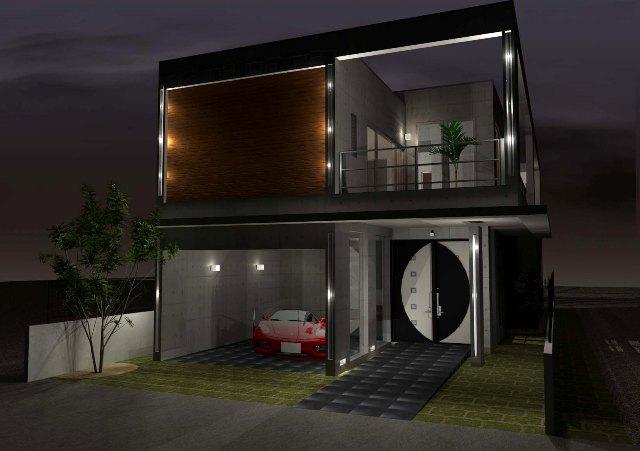 鉄筋コンクリート造、2階建てのガレージハウス