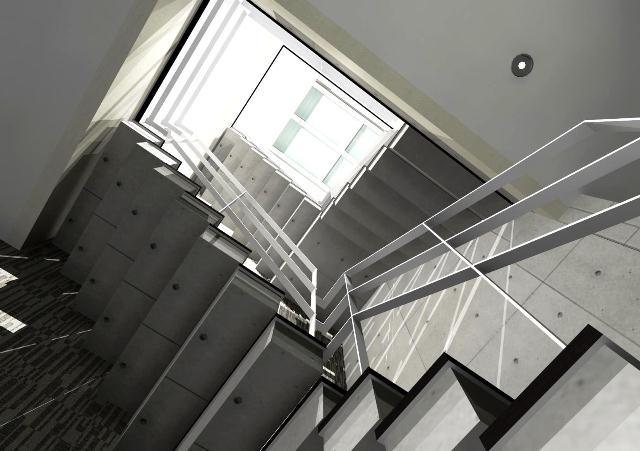 注文住宅 京都市北区 鉄筋コンクリート 打ちっぱなし14 階段 吹き抜け 天窓