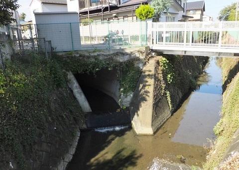 天神森下排水路・歌川分流排水路合流点