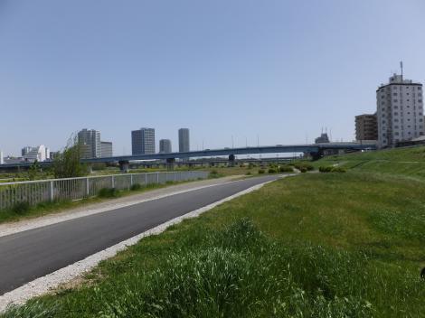 平瀬川浄化施設操作塔付近より多摩川河川敷を見る