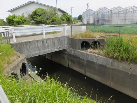 新川に架かる広北橋のジャバラ排水路
