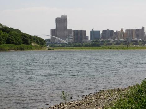 相模川より厚木市街を望む
