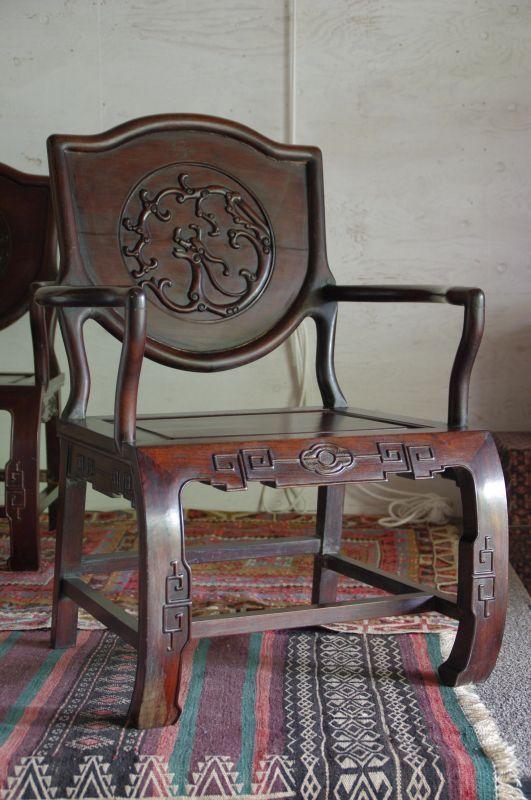 rw 紫檀 龍の浮き彫りのローチェア 1970 made in China