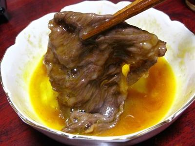 溶き玉子と牛肉