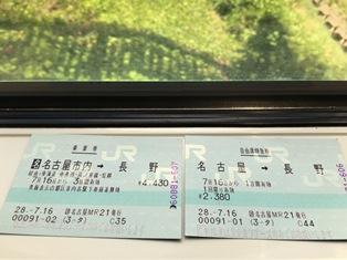 長野行き切符