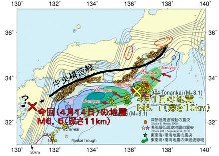 4月1日と14日の地震