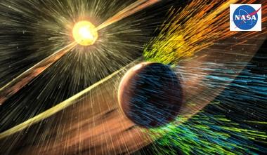 太陽風の直撃を受ける火星の想像図
